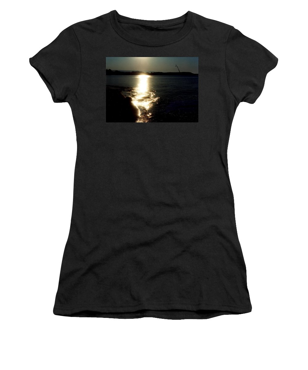 Path Of Sun On Sea Women's T-Shirt (Athletic Fit) featuring the photograph Path Of Sunlight On The Sea by Catt Kyriacou