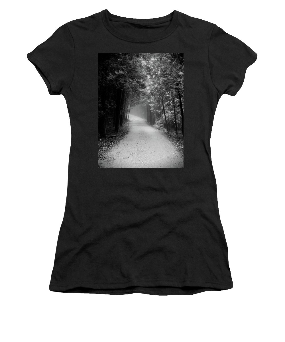 Elora Ontario Cedar Trees Light Dark Darkness Path Nature Foggy Misty Forest Soft Greyscale Black White Women's T-Shirt featuring the photograph Two Ways by The Sangsters