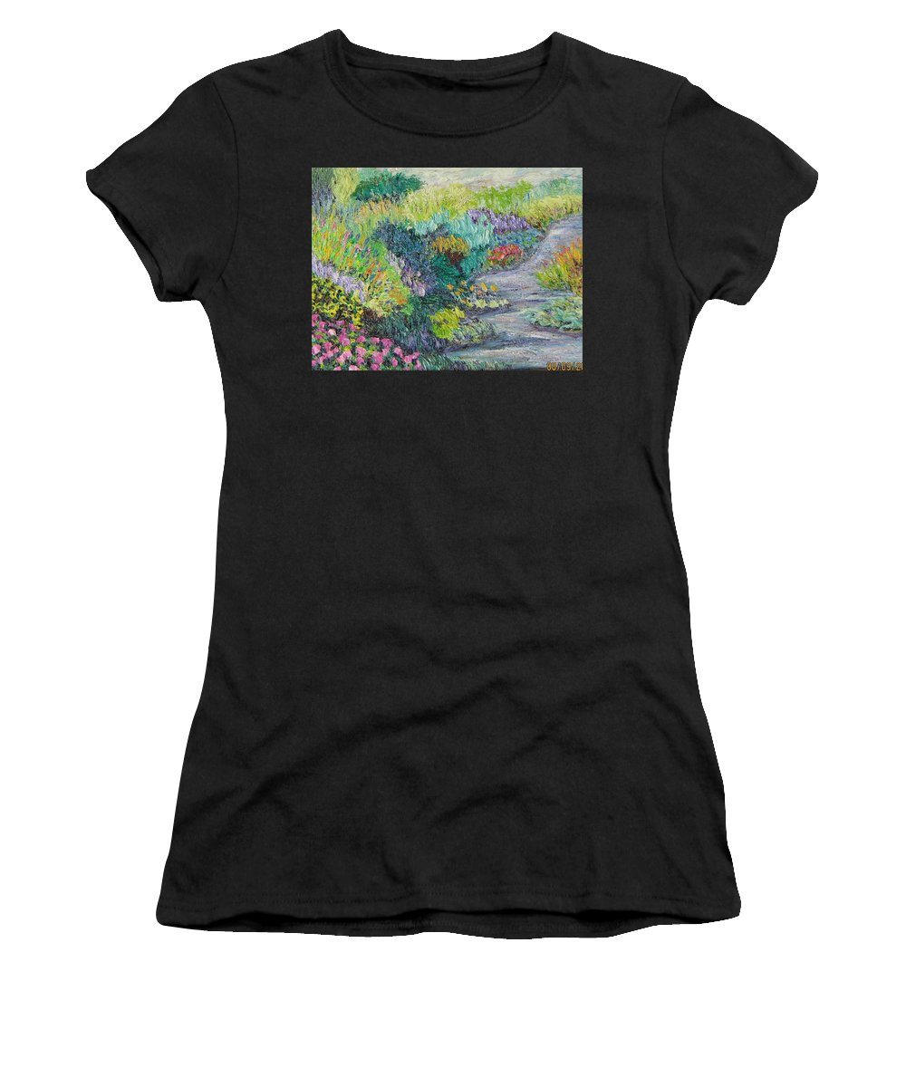 Flowers Women's T-Shirt (Athletic Fit) featuring the painting Pathway Of Flowers by Richard Nowak