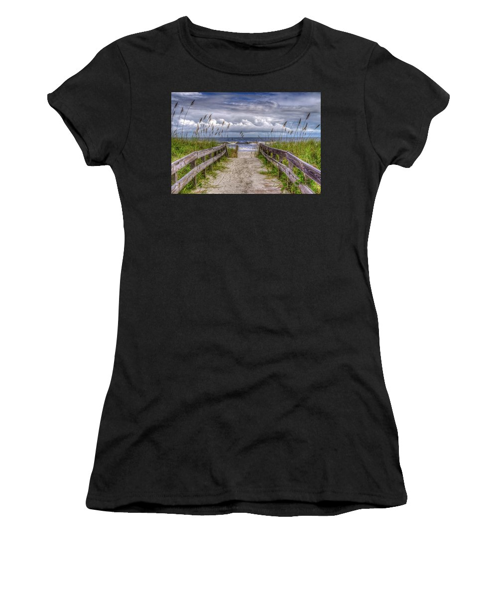 Myrtle Beach Women's T-Shirt (Athletic Fit) featuring the photograph Pathway To Paradise by Charles Lawhon