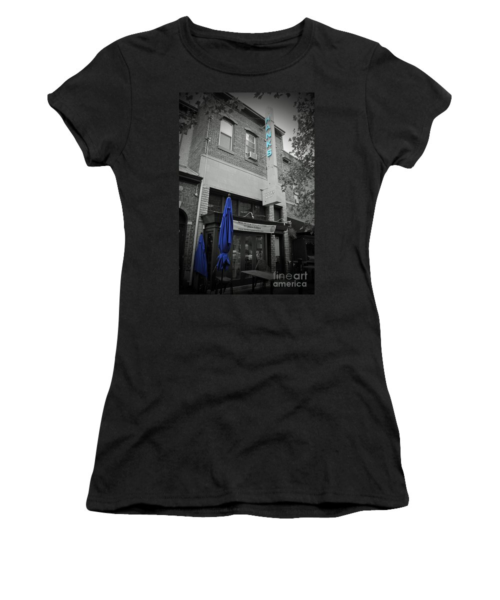Hank Women's T-Shirt (Athletic Fit) featuring the photograph Patio At Hanks by Jost Houk