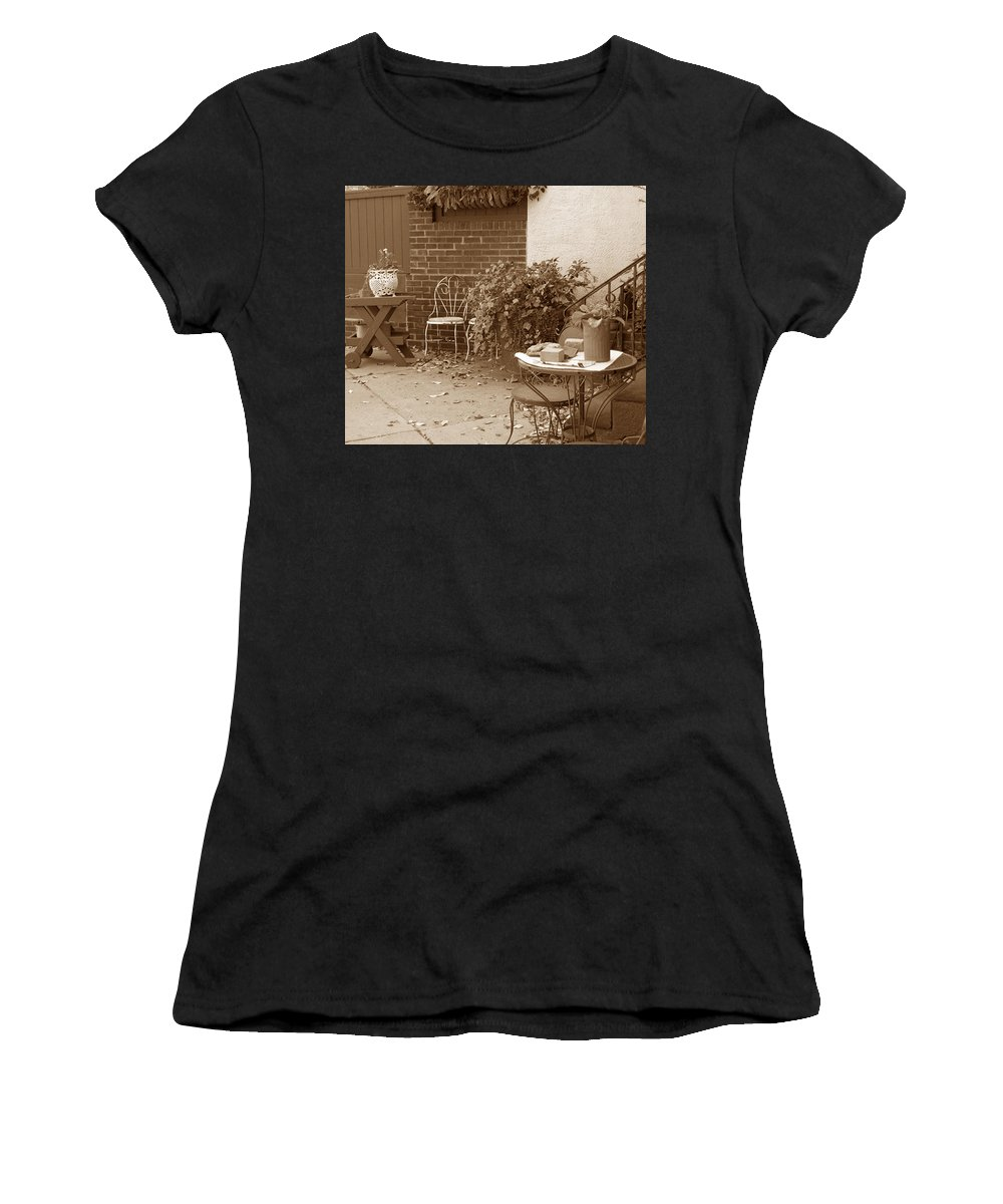 Sepia Women's T-Shirt (Athletic Fit) featuring the photograph Patio Table by Janis Beauchamp