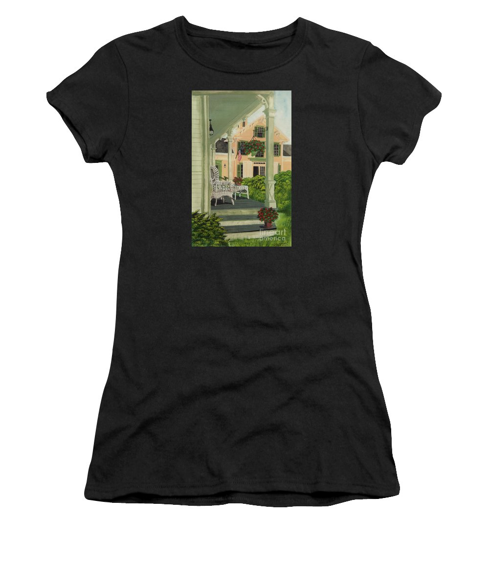 Side Porch Women's T-Shirt (Athletic Fit) featuring the painting Patriotic Country Porch by Charlotte Blanchard