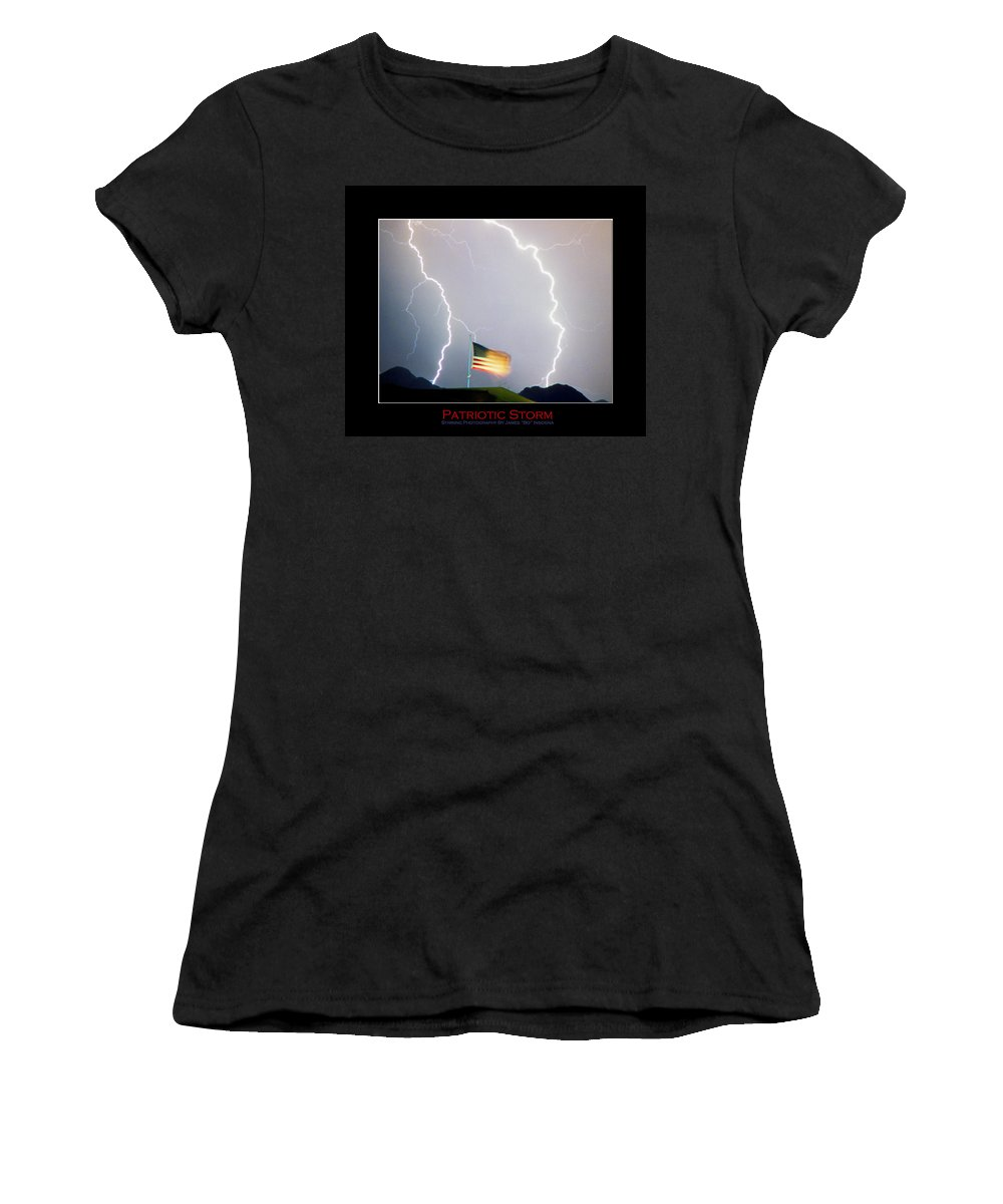 Lightning; Lightening; American Flag; Usa; Americana; Storm; Nature Women's T-Shirt (Athletic Fit) featuring the photograph Patriotic Storm - Poster Print by James BO Insogna
