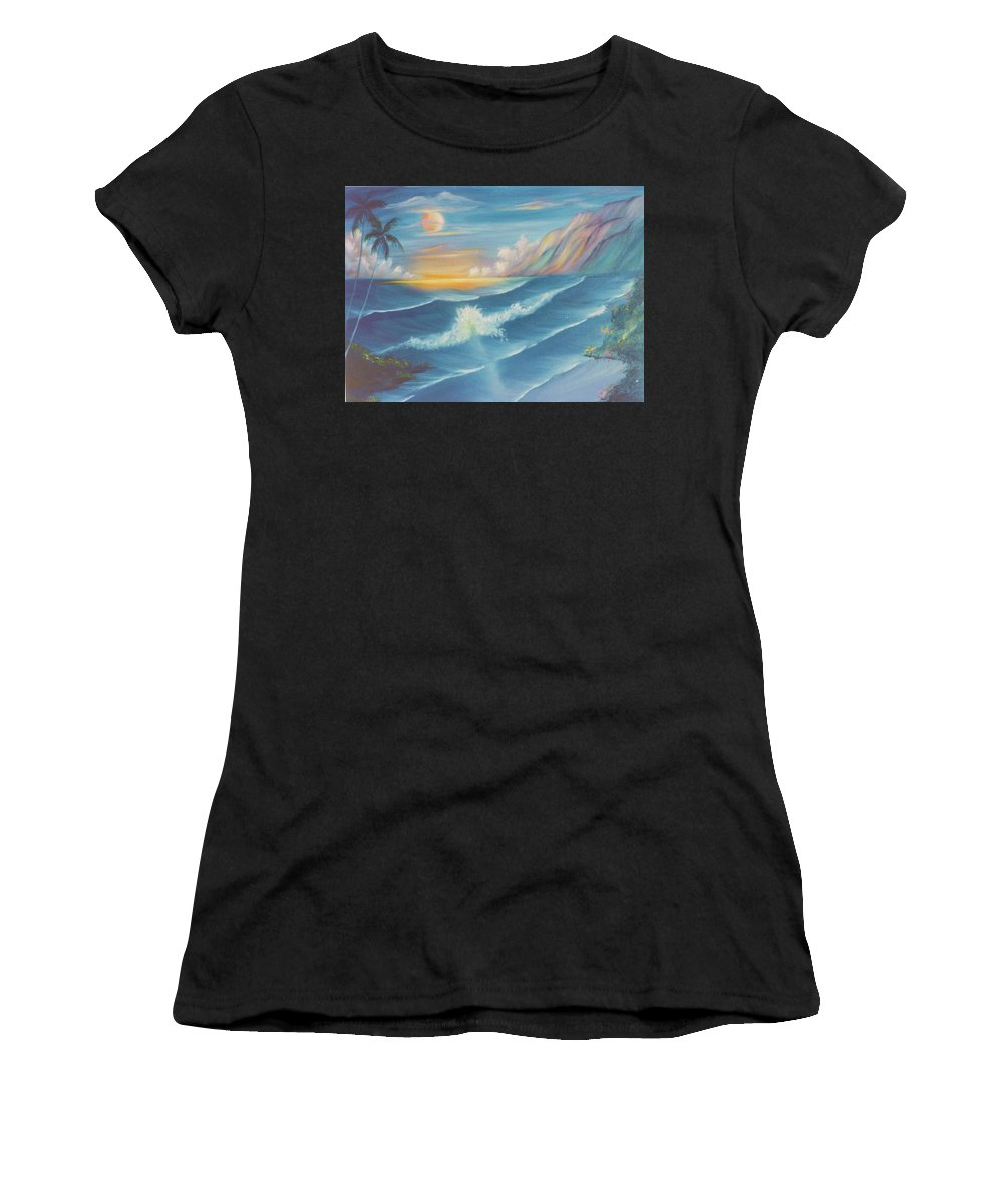 Waves Women's T-Shirt (Athletic Fit) featuring the painting Pau Hana by Dina Holland