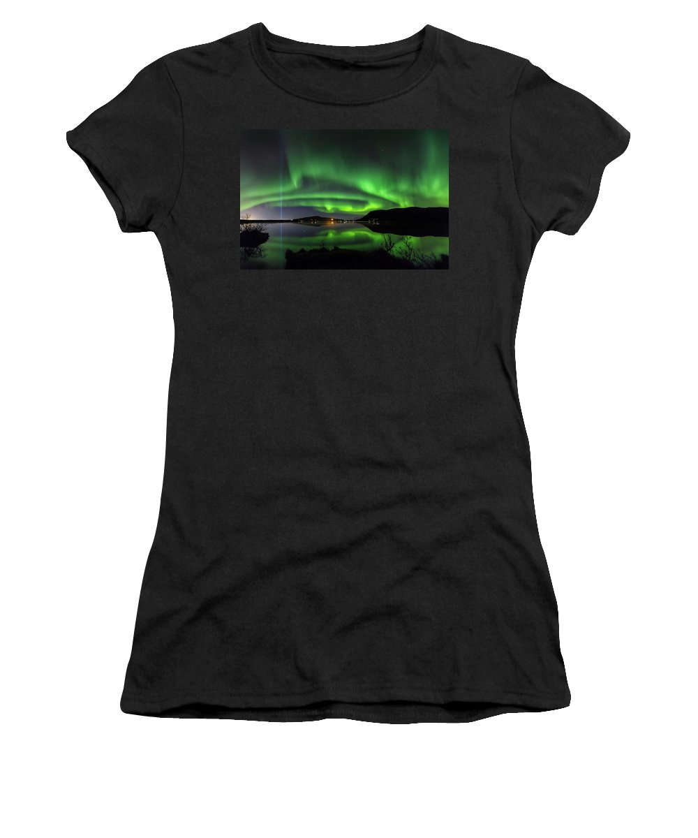 Iceland. Northern Lights Women's T-Shirt (Athletic Fit) featuring the photograph Peace Column by Bragi Kort