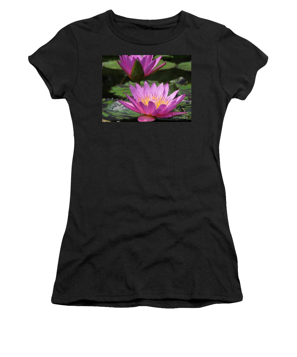 Lillypad Women's T-Shirt (Athletic Fit) featuring the photograph Peaceful by Amanda Barcon