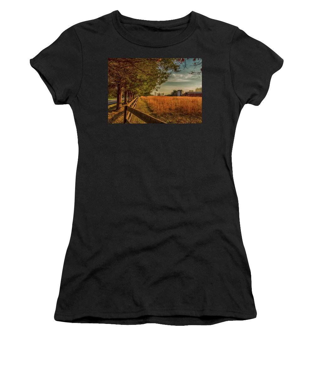 Farm Women's T-Shirt (Athletic Fit) featuring the photograph Peaceful On The Fam by Cliff Middlebrook