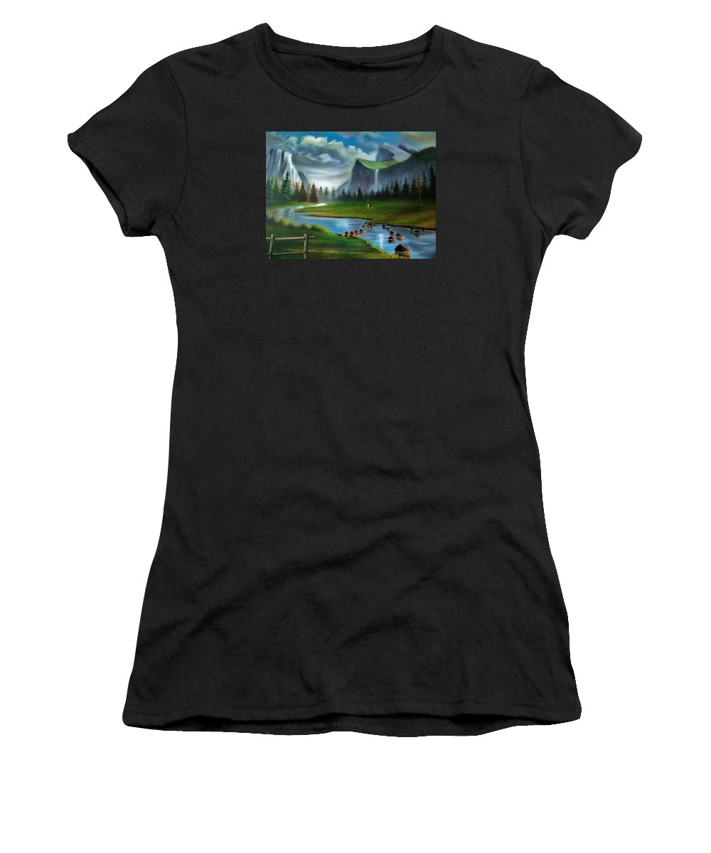 Landscape Women's T-Shirt featuring the painting Peaceful Retreat by Scott Easom