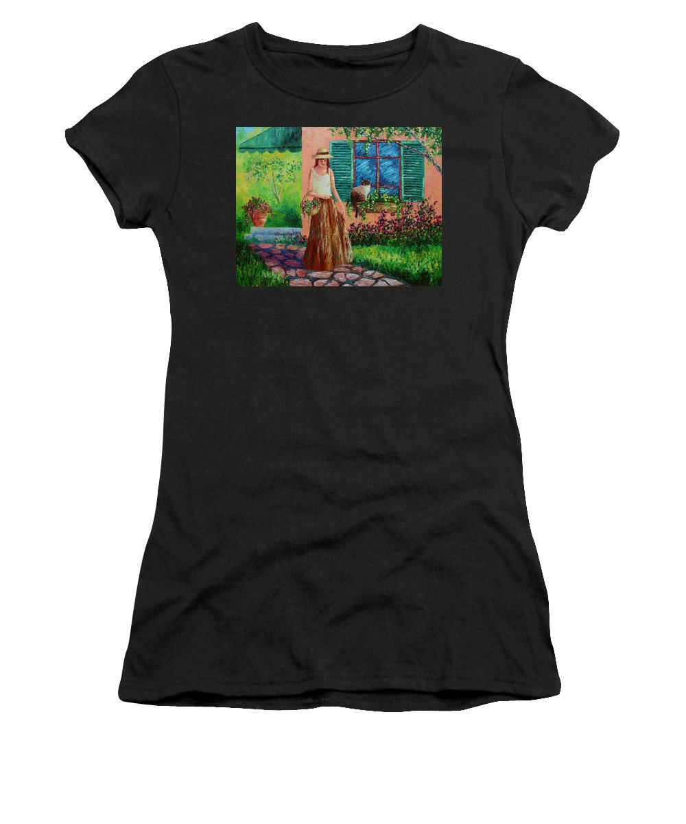 Woman Women's T-Shirt (Athletic Fit) featuring the painting Peaceful Thoughts by David G Paul