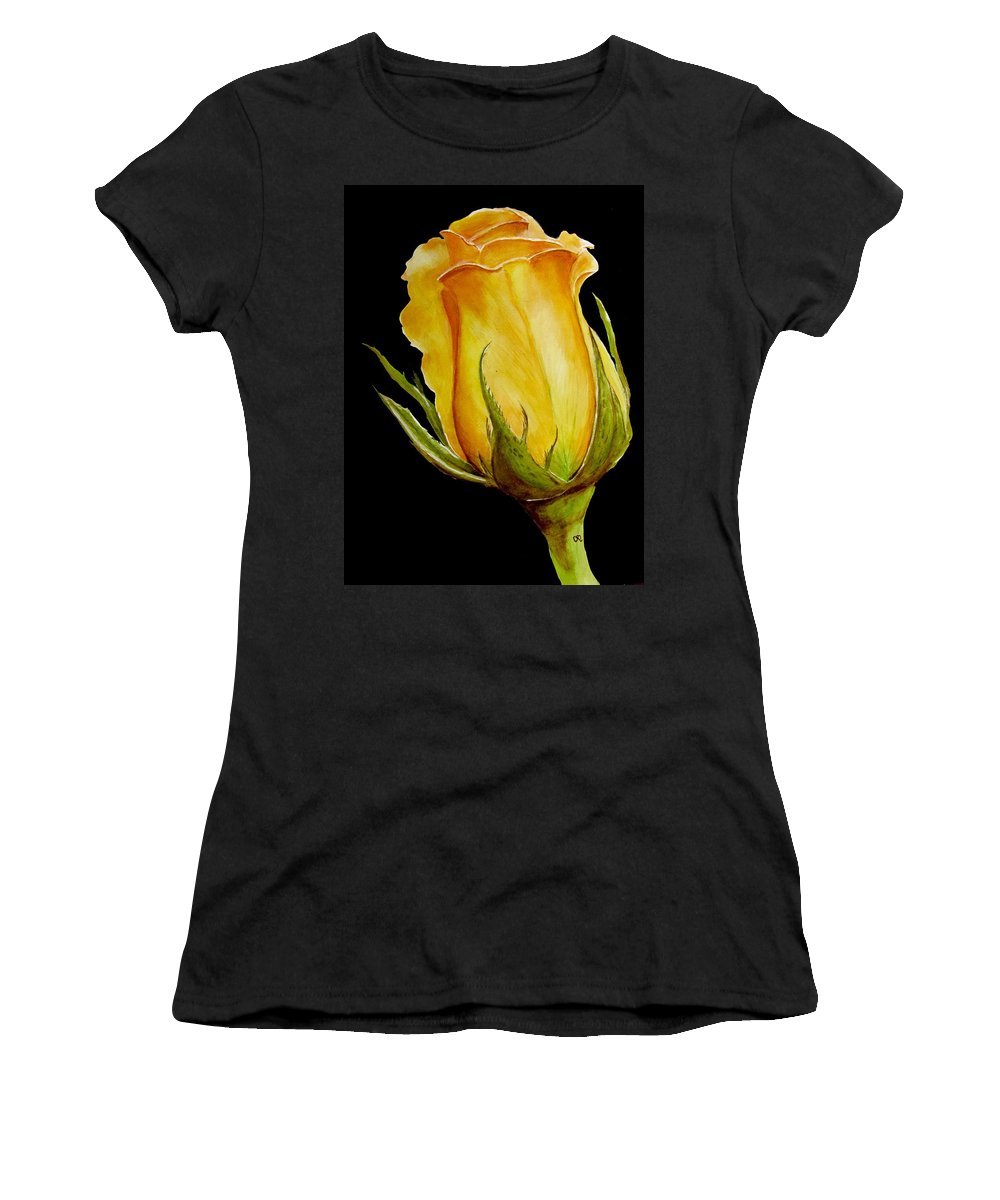 Yellow Rose Women's T-Shirt featuring the painting Peach Rose by Carol Blackhurst