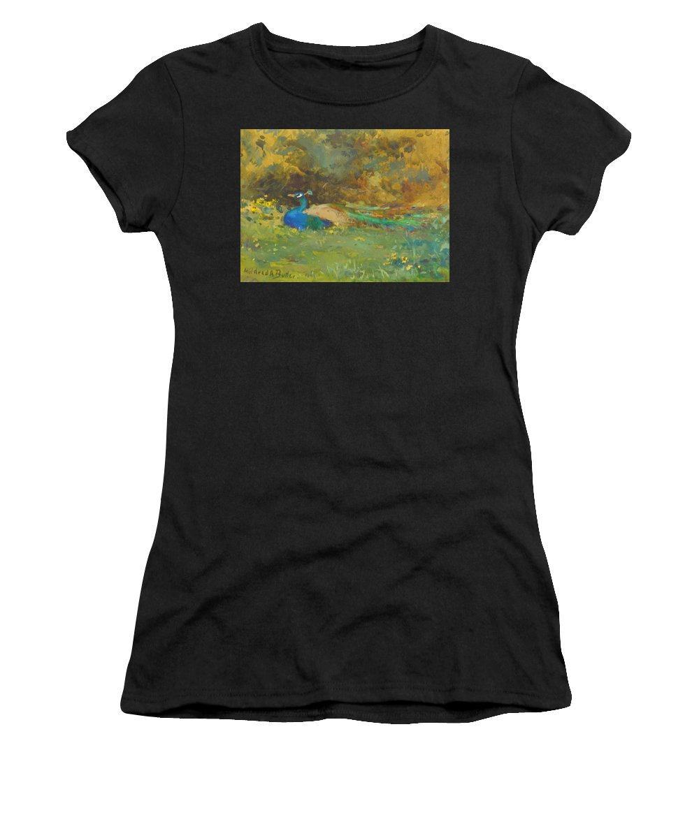 Peacock Women's T-Shirt (Athletic Fit) featuring the painting Peacock In A Garden by Butler Mildred Anne