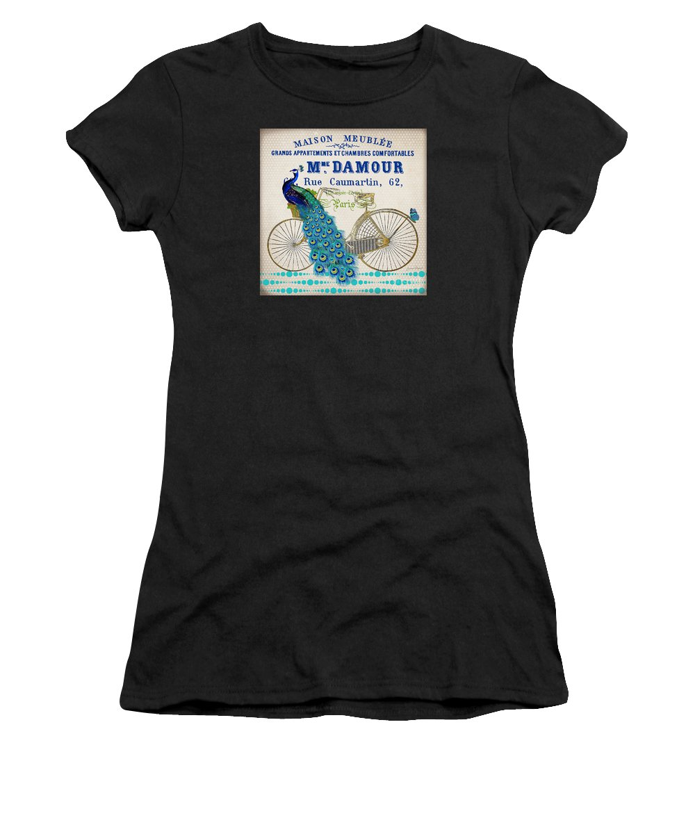 Peacock Women's T-Shirt (Athletic Fit) featuring the painting Peacock On Bicycle-jp3607 by Jean Plout