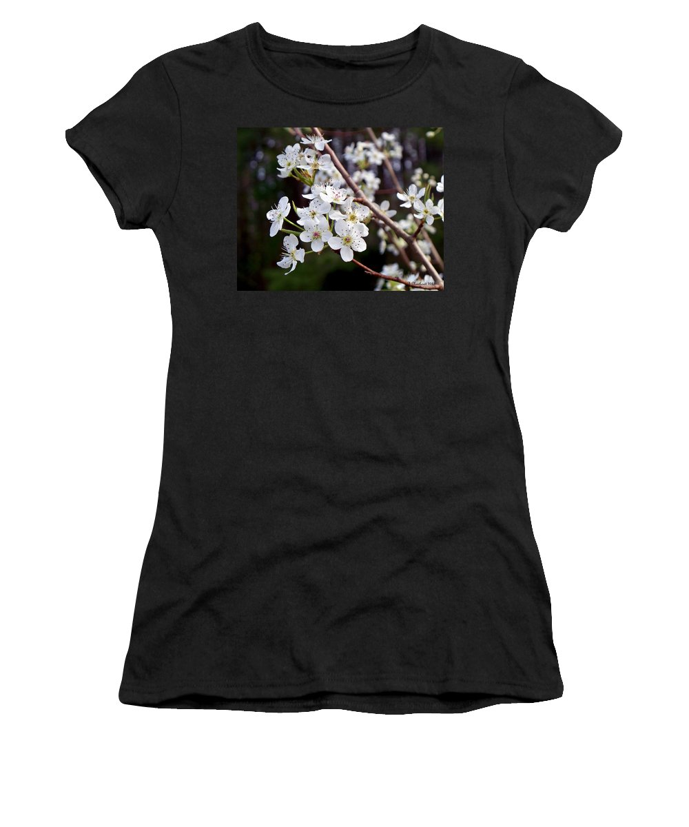 Pear Women's T-Shirt (Athletic Fit) featuring the photograph Pear Tree Blossoms IIi by Betty Northcutt