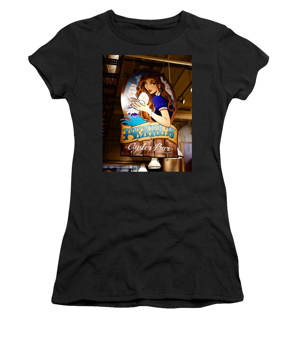 Food Women's T-Shirt (Athletic Fit) featuring the photograph Pearls Oyster Bar by Ronald Watkins