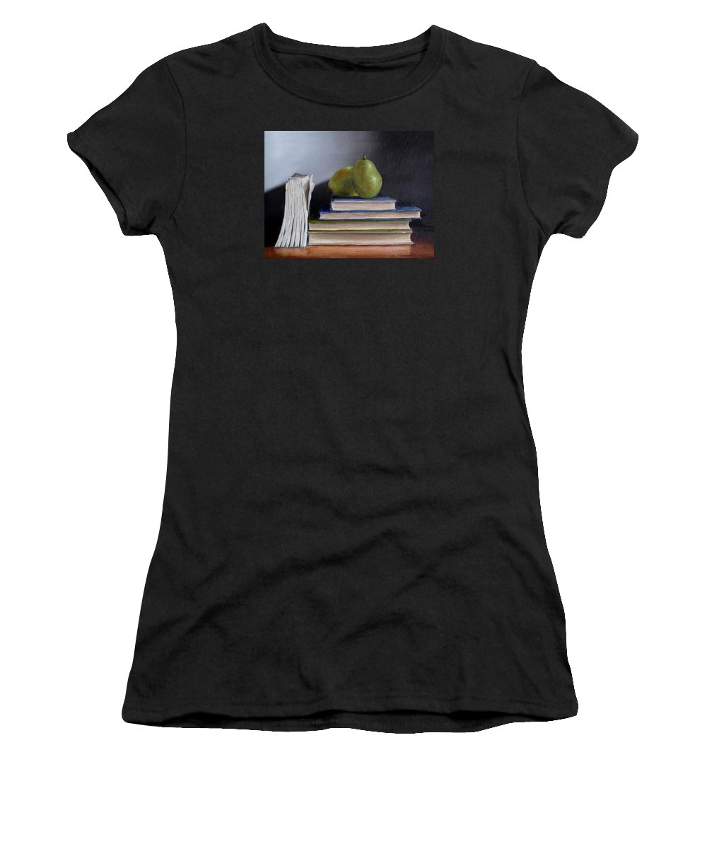 Still-life Women's T-Shirt (Athletic Fit) featuring the painting Pears And Books by Jeannette Scranton