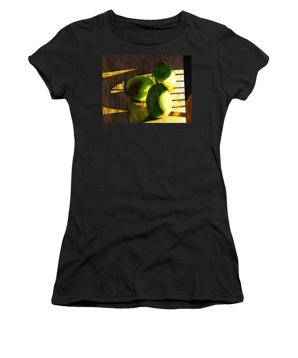 Pears Women's T-Shirt featuring the painting Pears No 3 by Catherine G McElroy