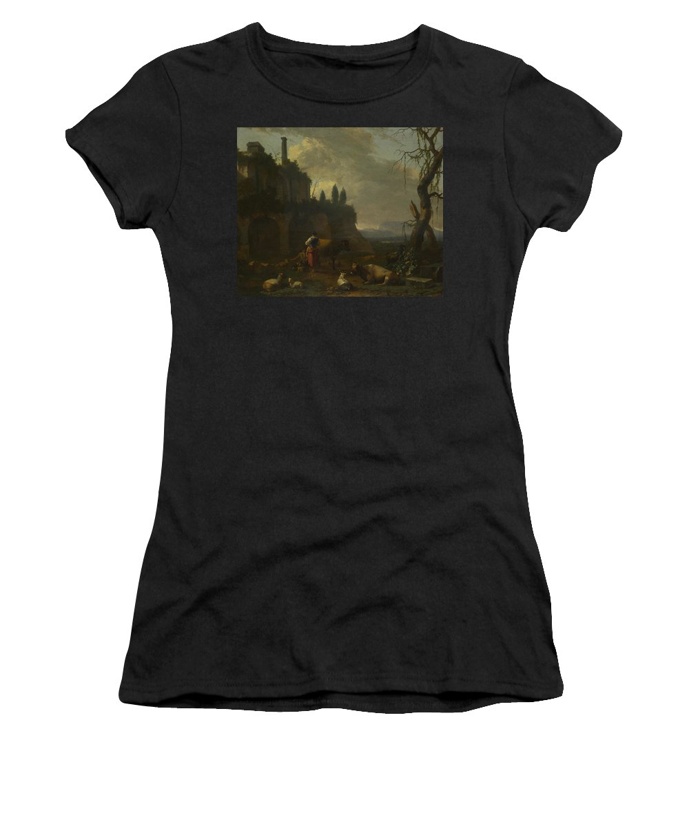 Abraham Women's T-Shirt (Athletic Fit) featuring the digital art Peasants With Cattle By A Ruin by PixBreak Art