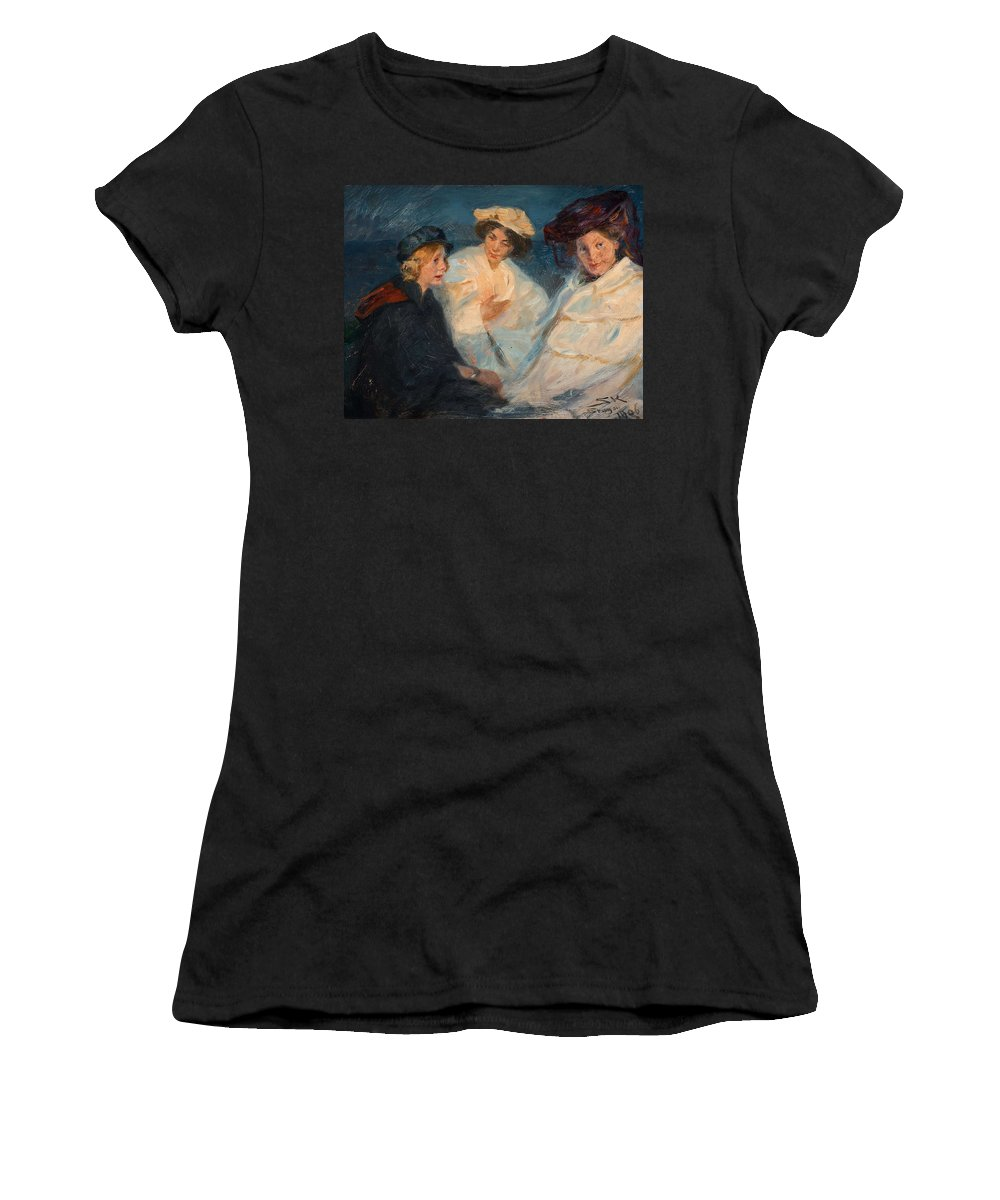 Beautiful Women's T-Shirt (Athletic Fit) featuring the painting Peder Severin Kroyer, From The Beaches Of Skagen. by Peder Severin Kroye