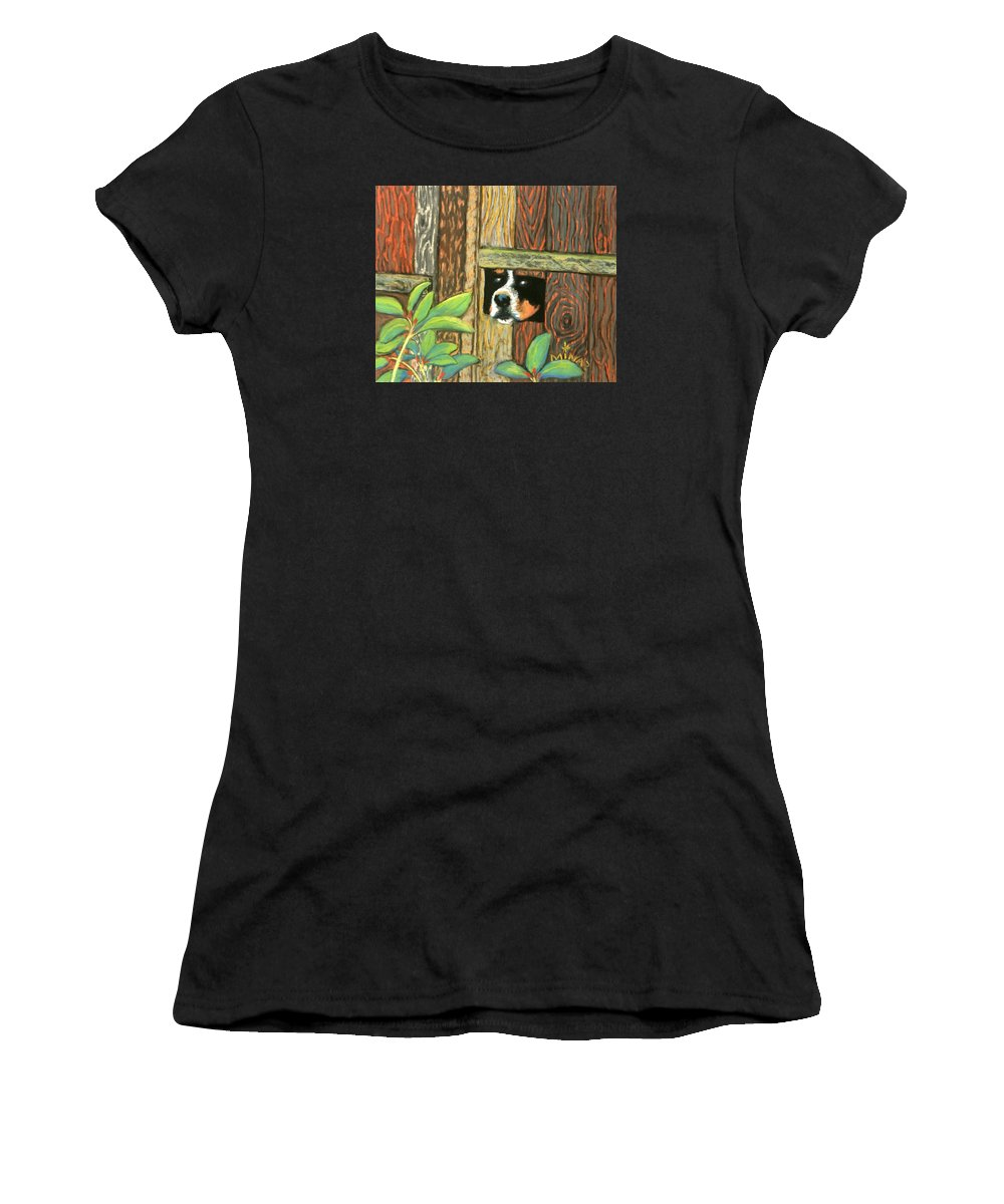 Dog Women's T-Shirt (Athletic Fit) featuring the painting Peek-a-boo Fence by Minaz Jantz