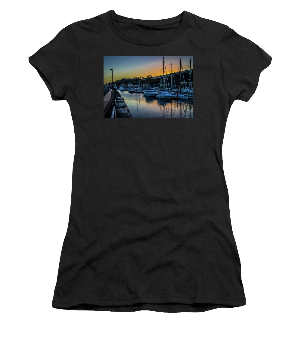 Penarth Harbour Women's T-Shirt (Athletic Fit) featuring the photograph Penarth Harbour In Wales by Stephen Jenkins