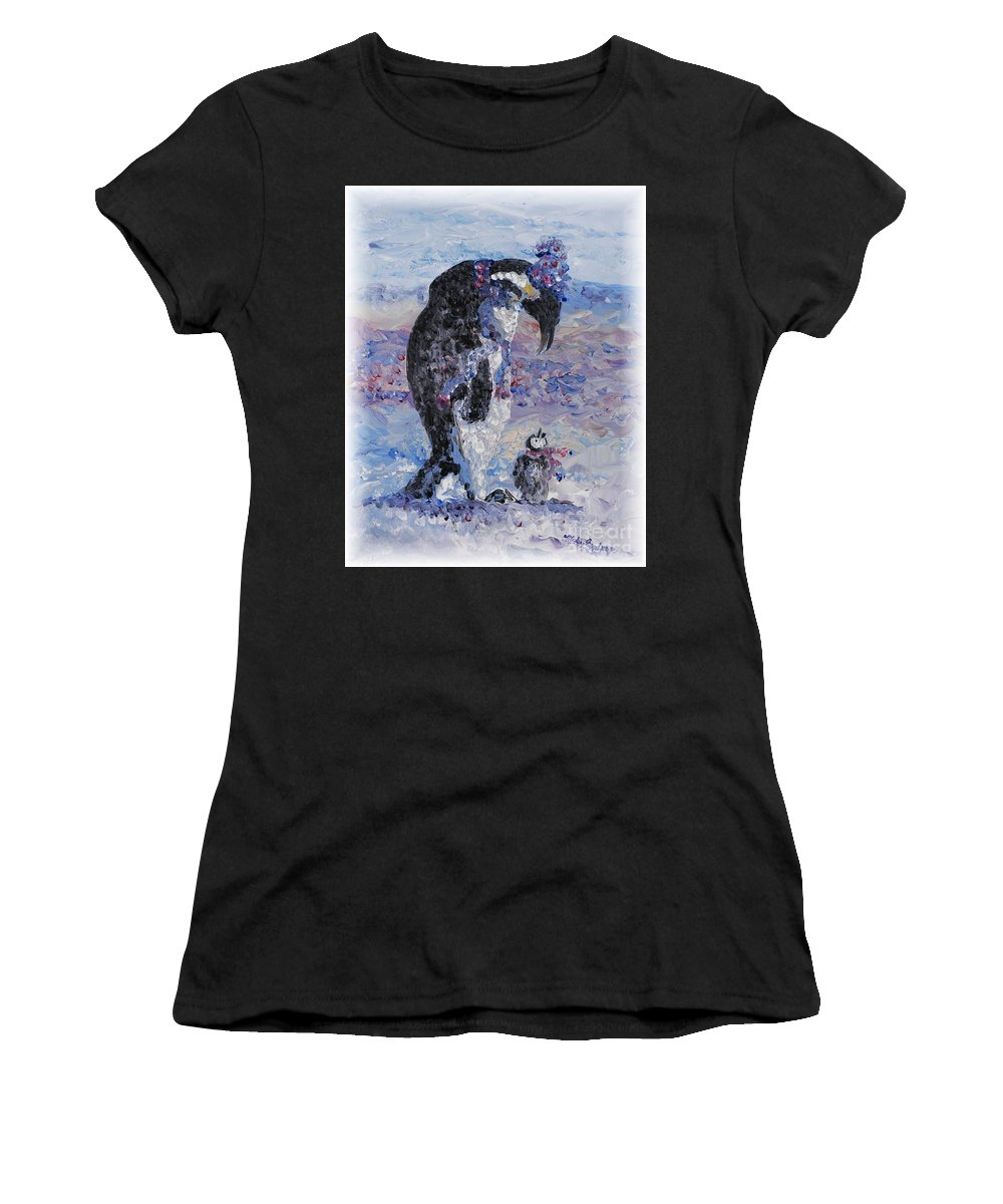 Penguins Winter Snow Blue Purple White Women's T-Shirt (Athletic Fit) featuring the painting Penguin Love by Nadine Rippelmeyer