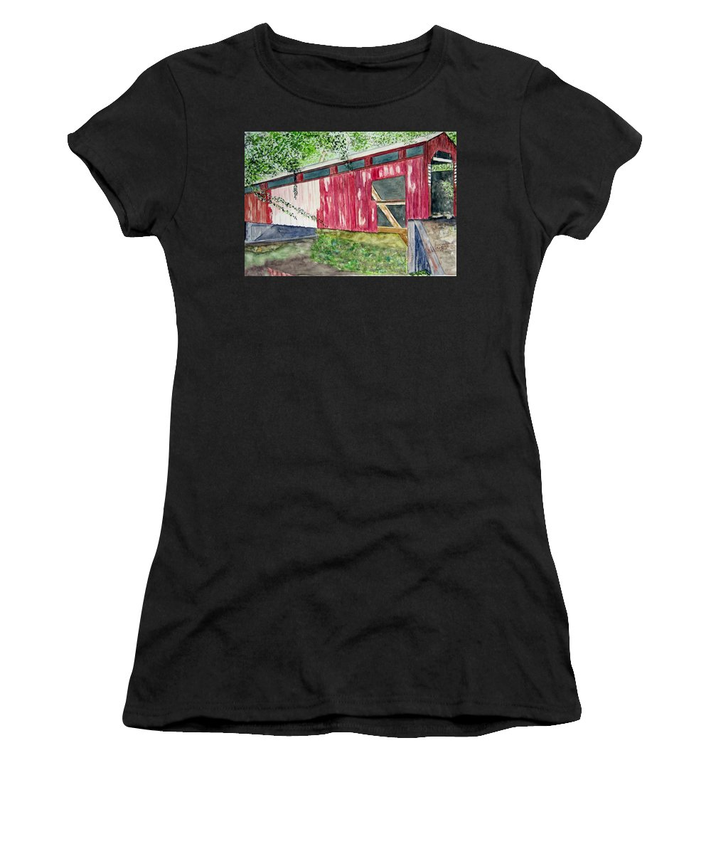 Pennsylvania Art Women's T-Shirt (Athletic Fit) featuring the painting Pennsylvania Bridge To Nowhere by Larry Wright
