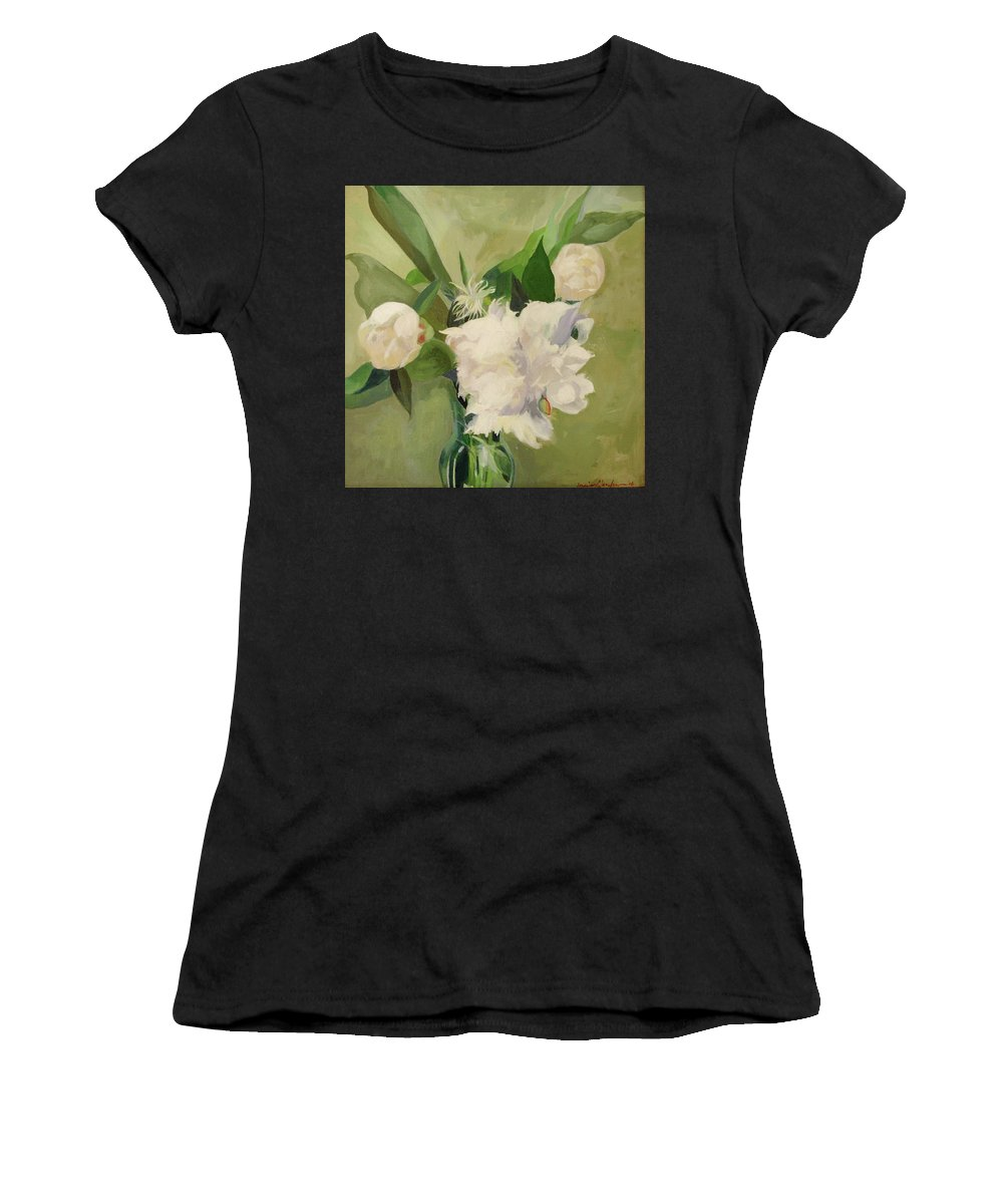 Floral Women's T-Shirt featuring the painting Peonies On Green by Marie Garafano