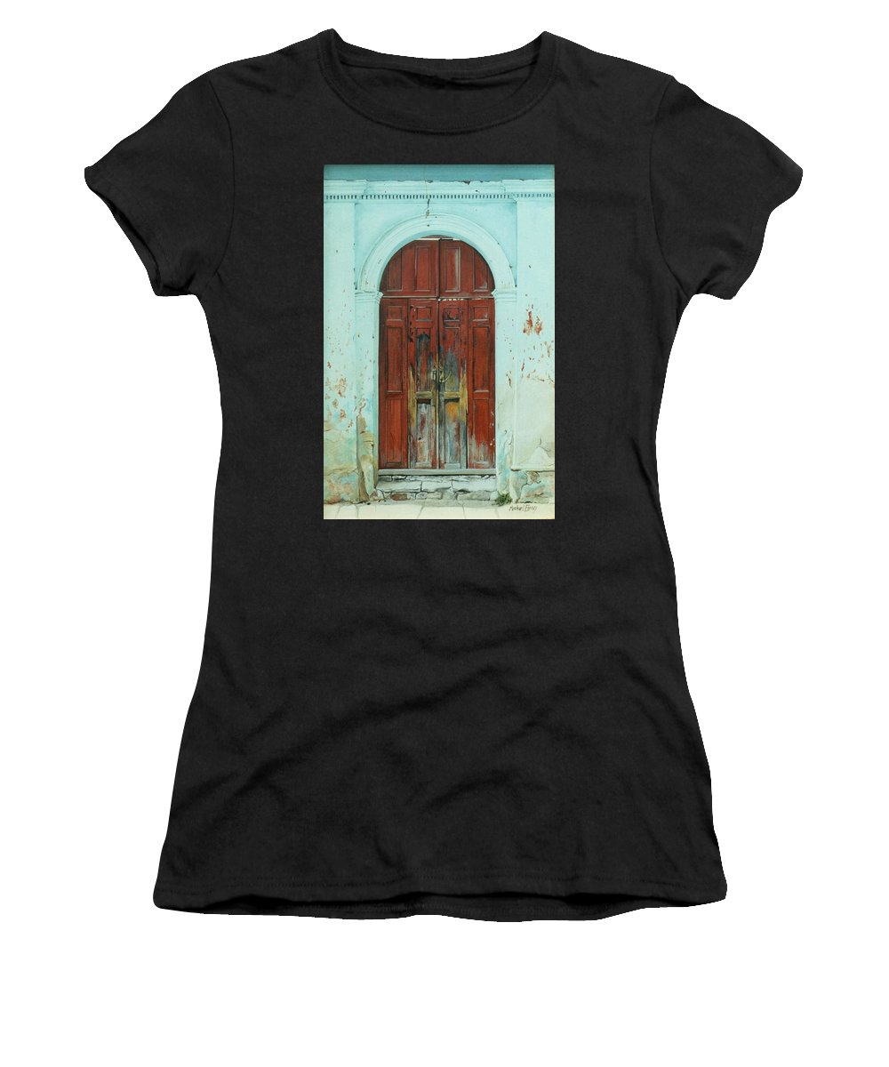 Hyperrealism Women's T-Shirt (Athletic Fit) featuring the painting Peonza Perdida by Michael Earney