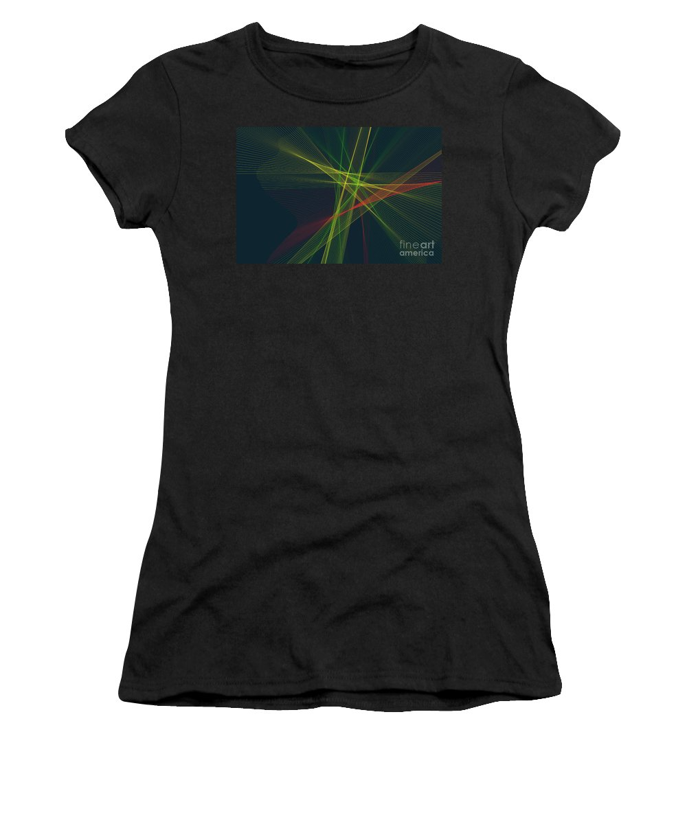 Abstract Women's T-Shirt (Athletic Fit) featuring the digital art Pepper Computer Graphic Line Pattern by Frank Ramspott