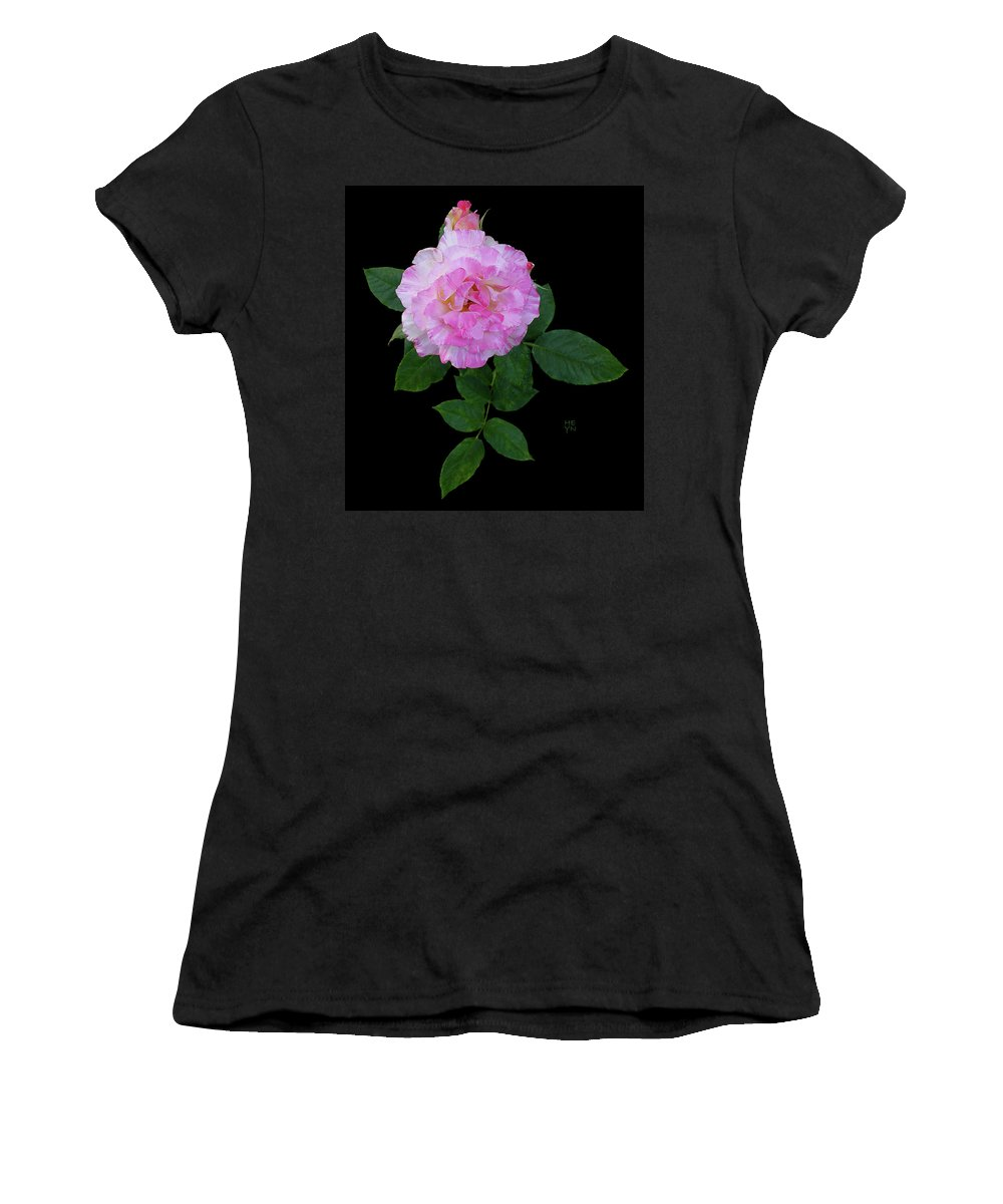 Cutout Women's T-Shirt (Athletic Fit) featuring the photograph Peppermint Rose1 Cutout by Shirley Heyn