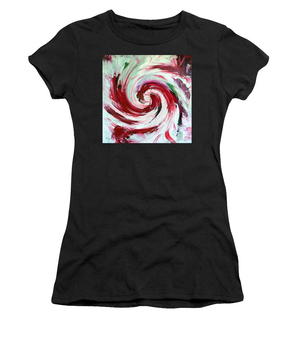 Peppermint Stick Candy Women's T-Shirt featuring the painting Peppermint Stick by Dawn Hough Sebaugh