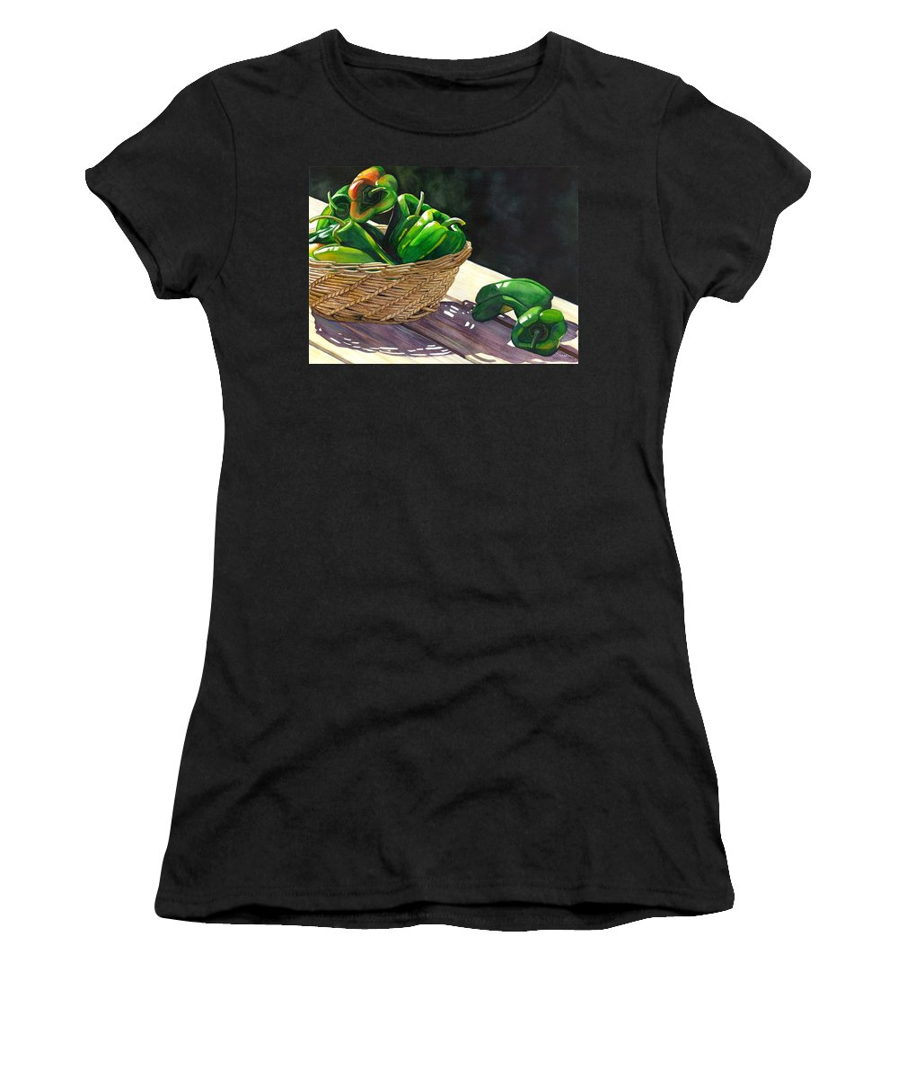 Peppers Women's T-Shirt (Athletic Fit) featuring the painting Peppers by Catherine G McElroy