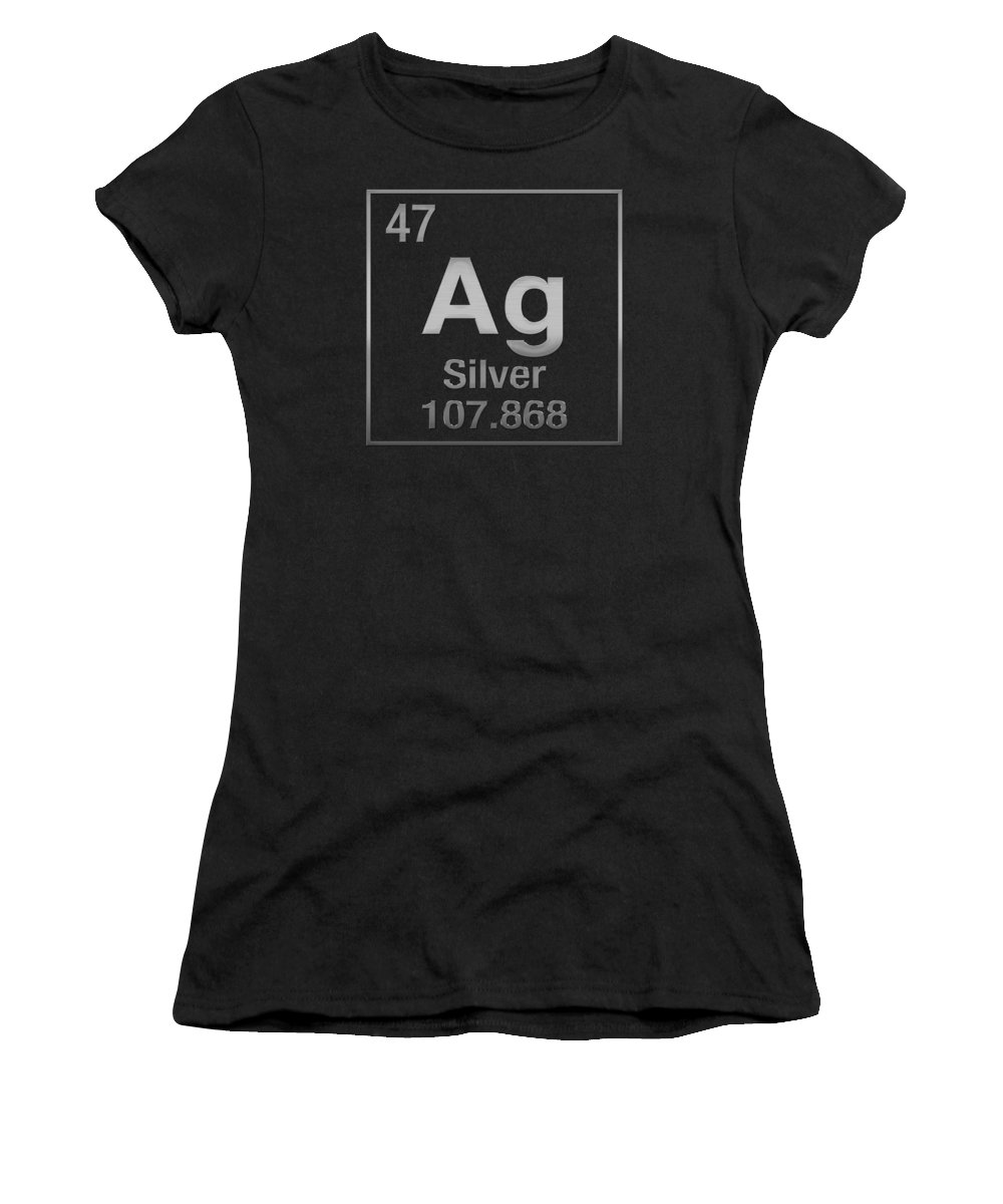 Periodic table of elements silver ag silver on black womens periodic table of elements silver ag silver on black womens t shirt for sale by serge averbukh gamestrikefo Choice Image