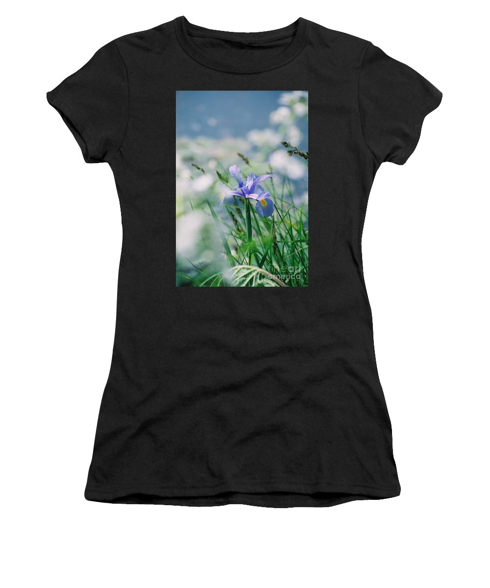 Periwinkle Women's T-Shirt (Athletic Fit) featuring the photograph Periwinkle Iris by Nadine Rippelmeyer