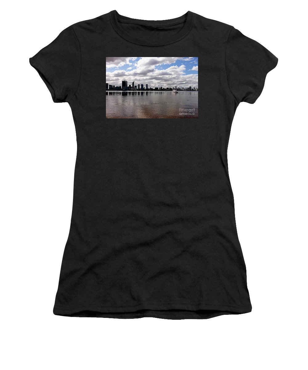 Perth City Women's T-Shirt (Athletic Fit) featuring the photograph Perth City From South Perth Foreshore by Carolyn Parker