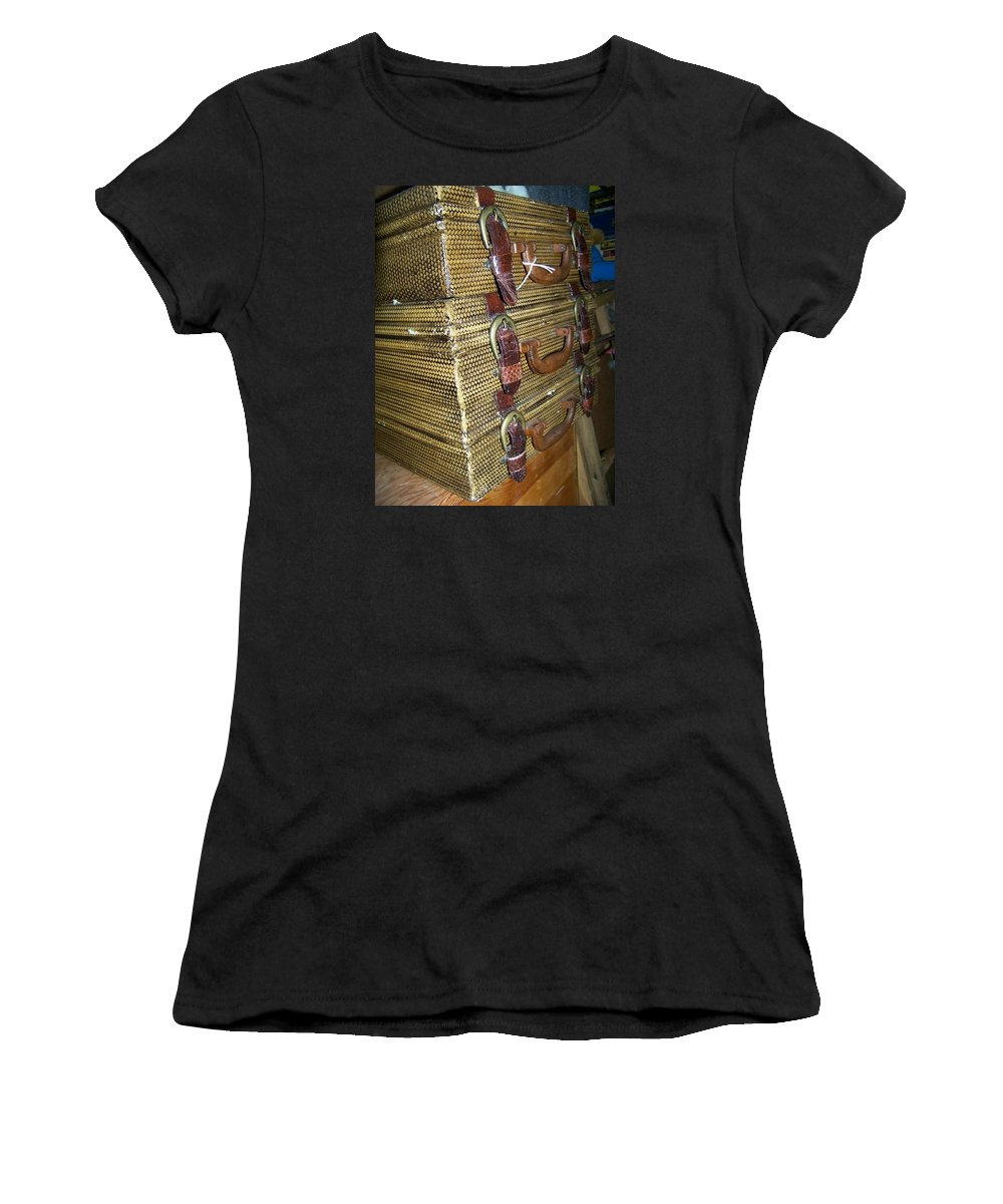 Antiques Women's T-Shirt (Athletic Fit) featuring the photograph Perusing The Antique Shop by Candida Tate