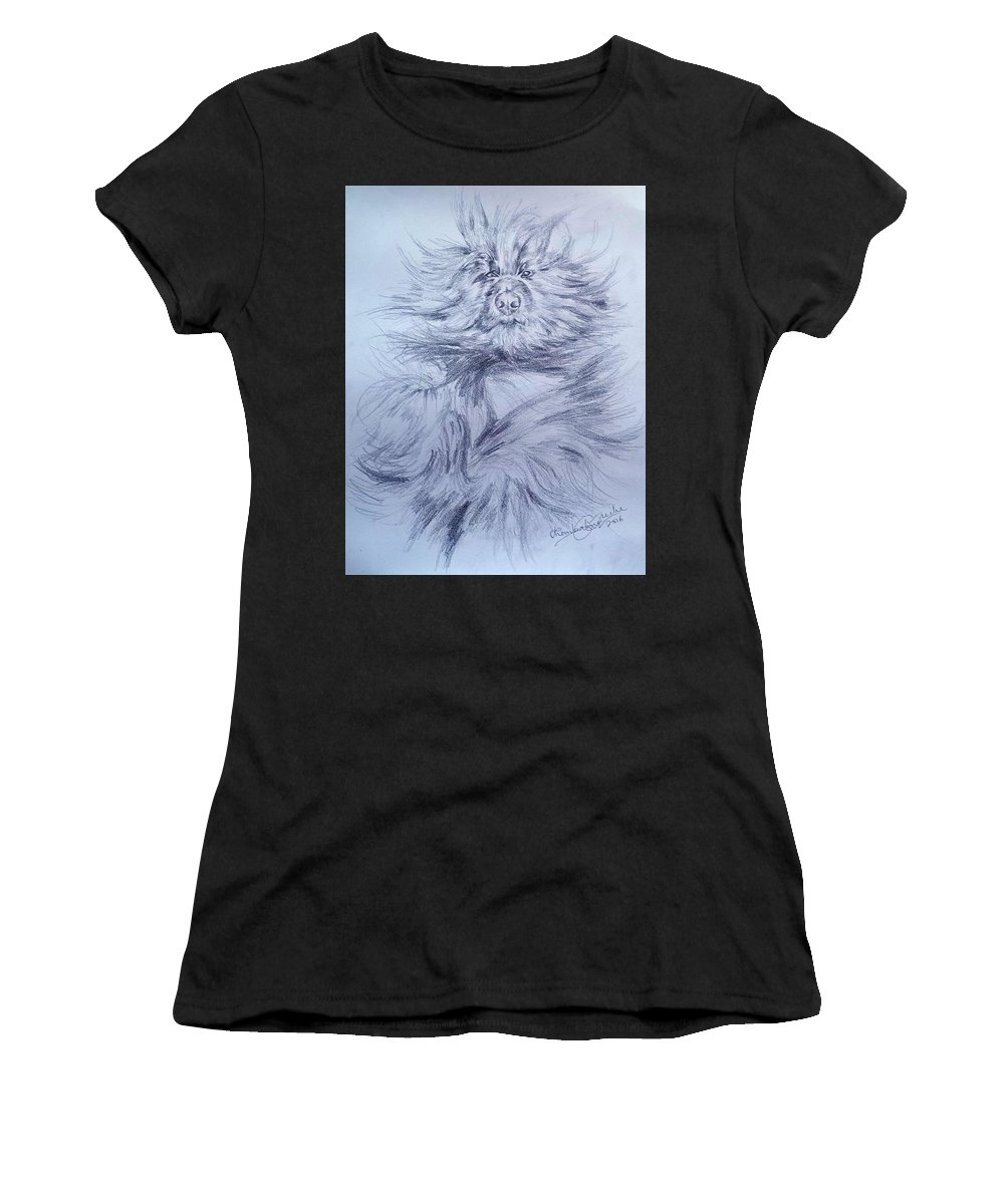 Pet Women's T-Shirt featuring the drawing Pet Portrait by Chembaline Uche