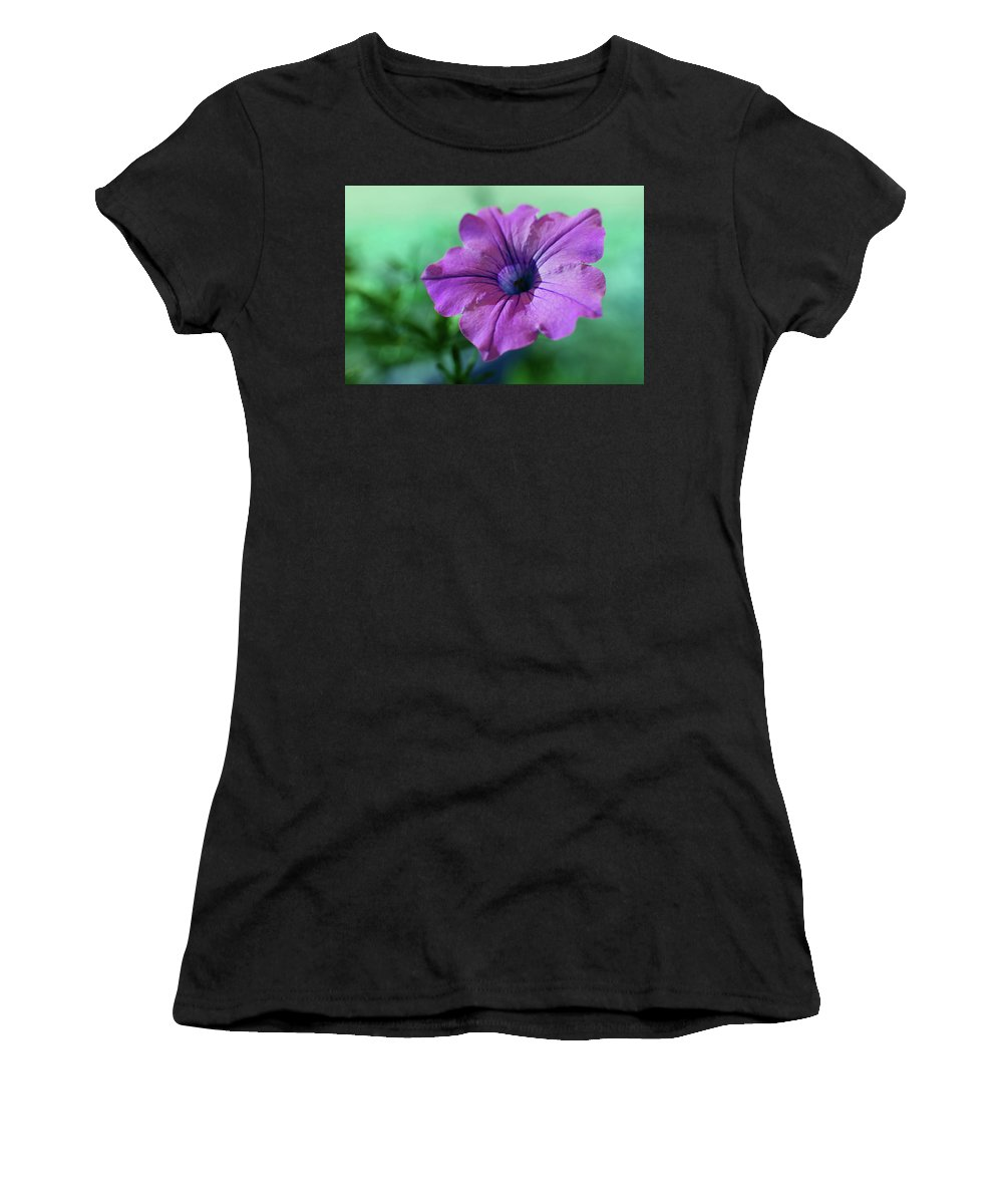 Adria Trail Women's T-Shirt (Athletic Fit) featuring the photograph Petunia by Adria Trail