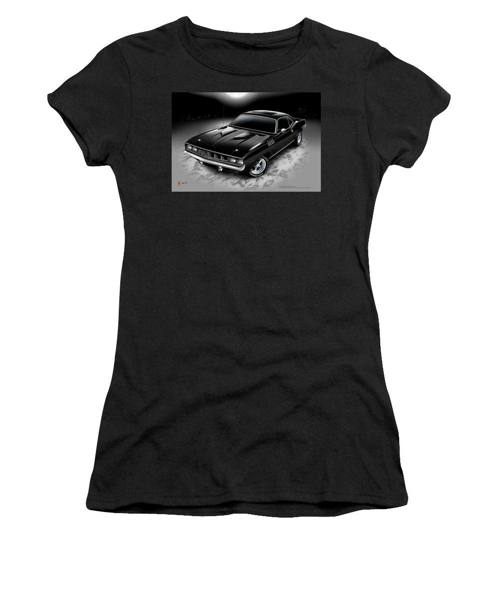 71 Cuda Women's T-Shirt (Athletic Fit) featuring the digital art Phantasm 71 Cuda by Doug Schramm