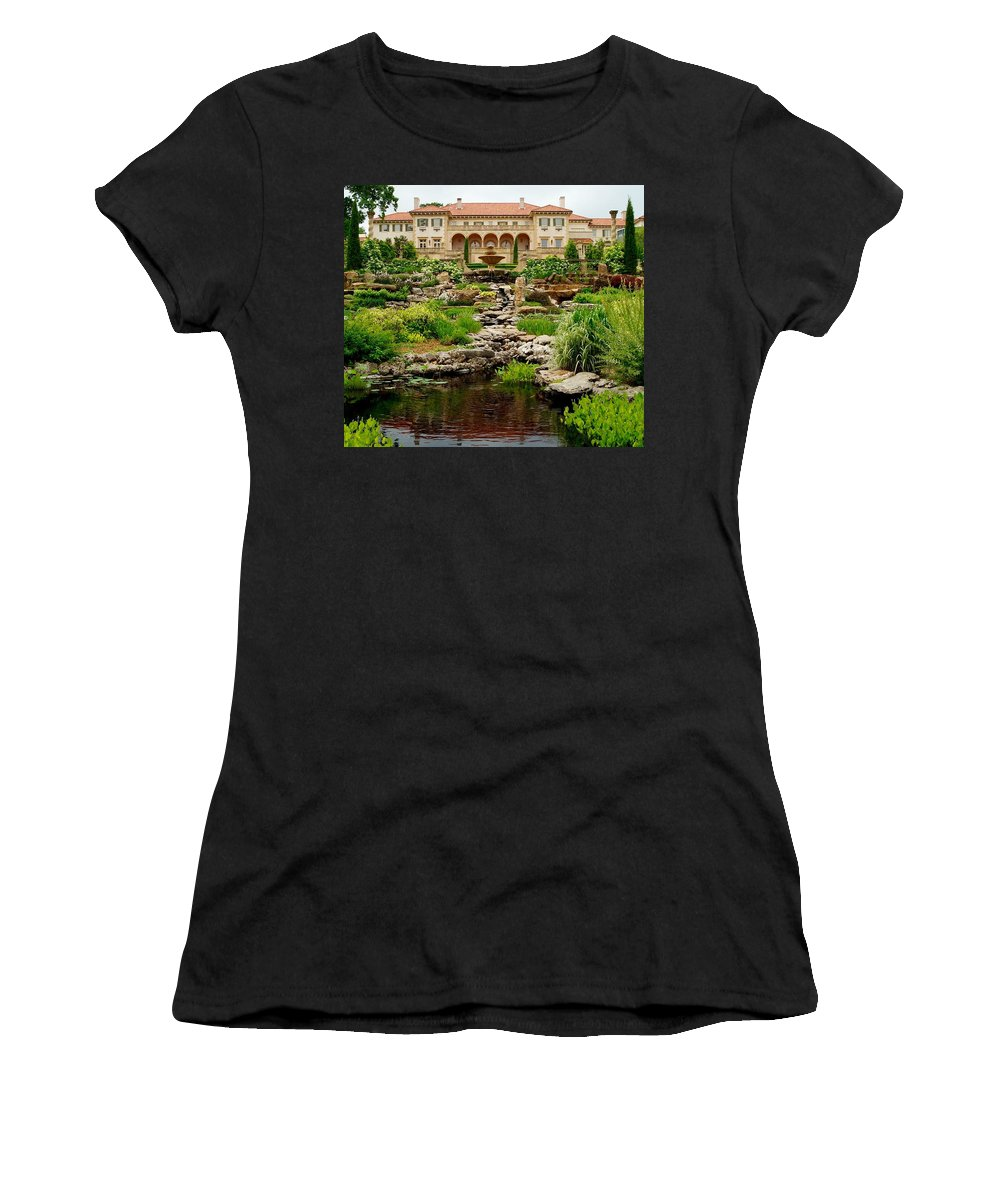 Museums Women's T-Shirt (Athletic Fit) featuring the photograph Philbrook Museum Gardens by Linda Cupps