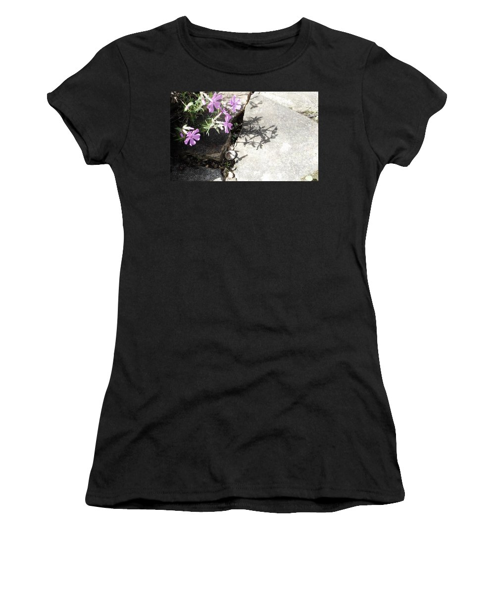 Spring Flowers Women's T-Shirt (Athletic Fit) featuring the photograph Phlox And Shadow by Susan Schneider