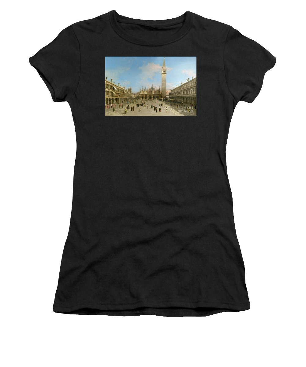 Canaletto Women's T-Shirt featuring the painting Piazza San Marco Looking Towards The Basilica Di San Marco by Canaletto