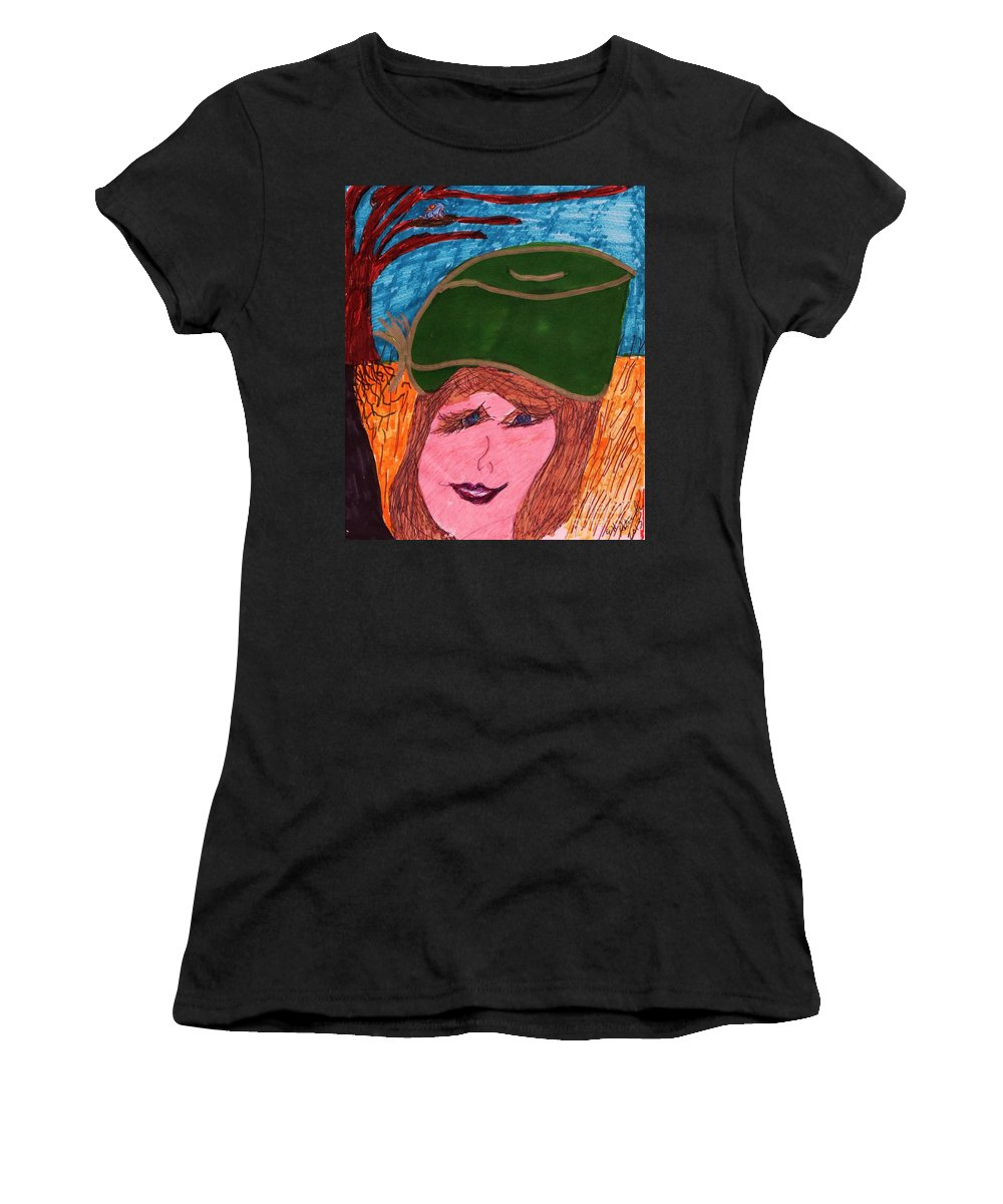 Green Hat Lady With A Tree Background Women's T-Shirt featuring the mixed media Picture Pose by Elinor Helen Rakowski