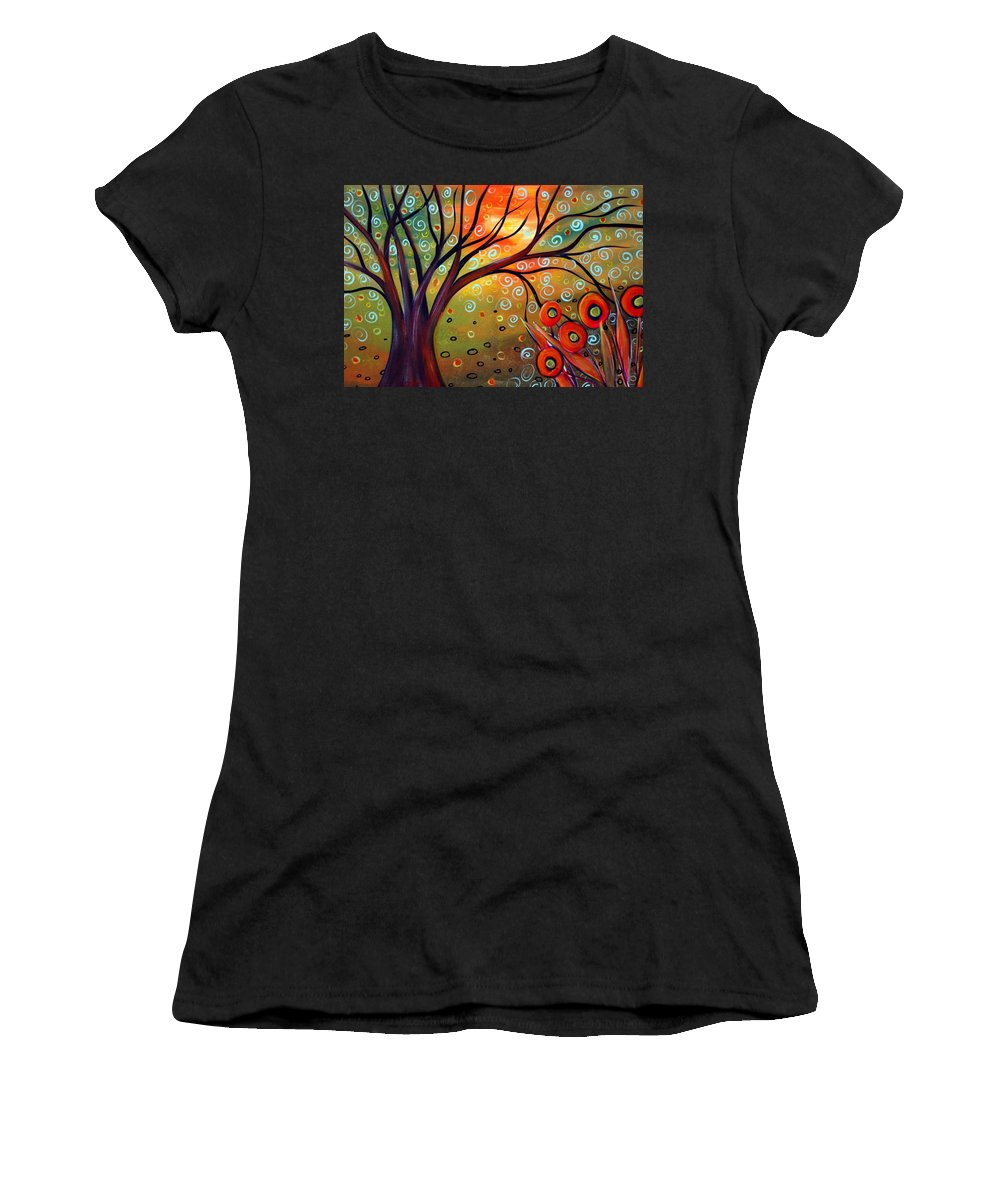 Landscape Women's T-Shirt featuring the painting Piece Of Eden by Luiza Vizoli
