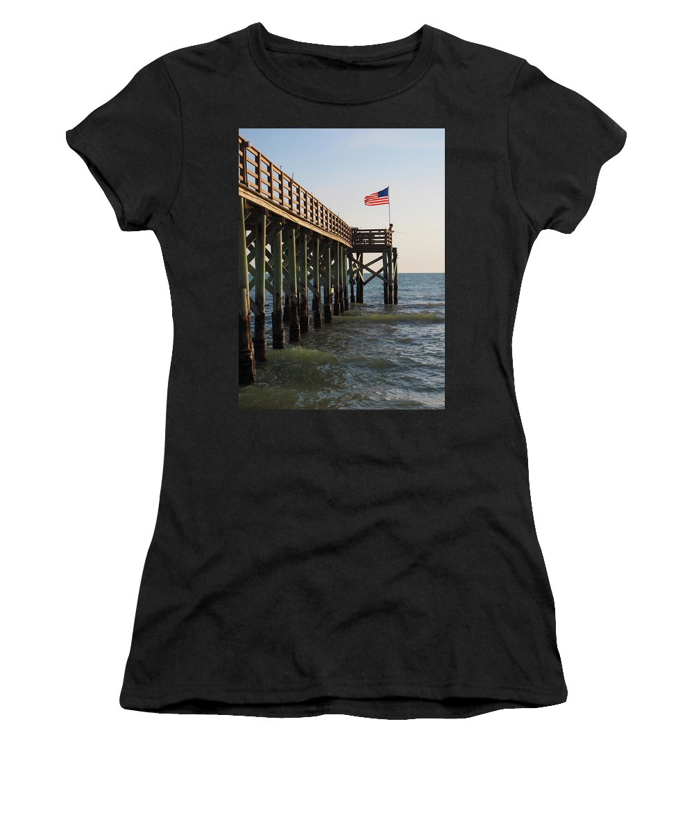 Pier Women's T-Shirt (Athletic Fit) featuring the photograph Pier, Flag, Fishing by Lucio Cicuto