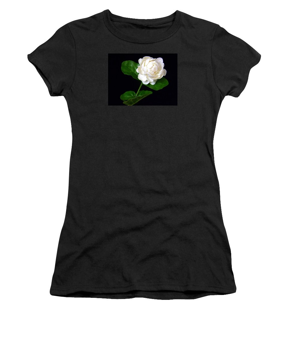 Flower Women's T-Shirt (Athletic Fit) featuring the photograph Pikake by Mary Deal