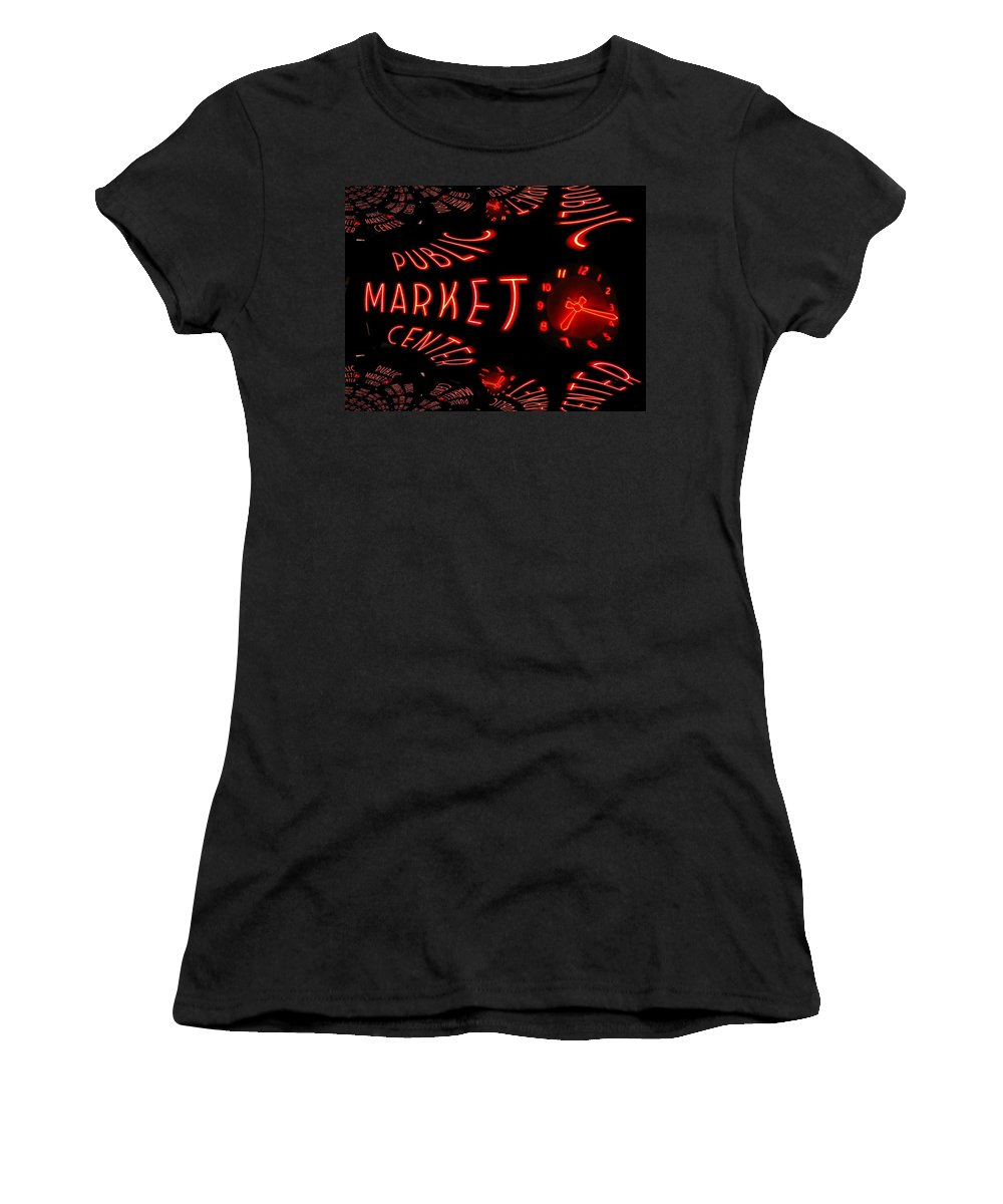 Seattle Women's T-Shirt featuring the digital art Pike Place Market Entrance 6 by Tim Allen