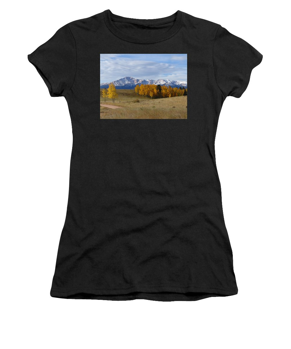 Fall Women's T-Shirt (Athletic Fit) featuring the photograph Pikes Peak In The Fall by Carol Milisen
