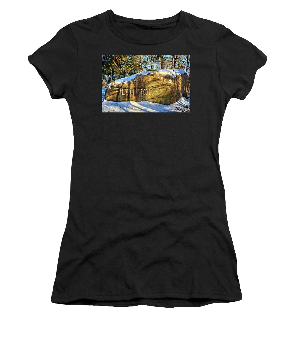 Bolder Women's T-Shirt (Athletic Fit) featuring the photograph Pilot Rock Iowa by Bonfire Photography